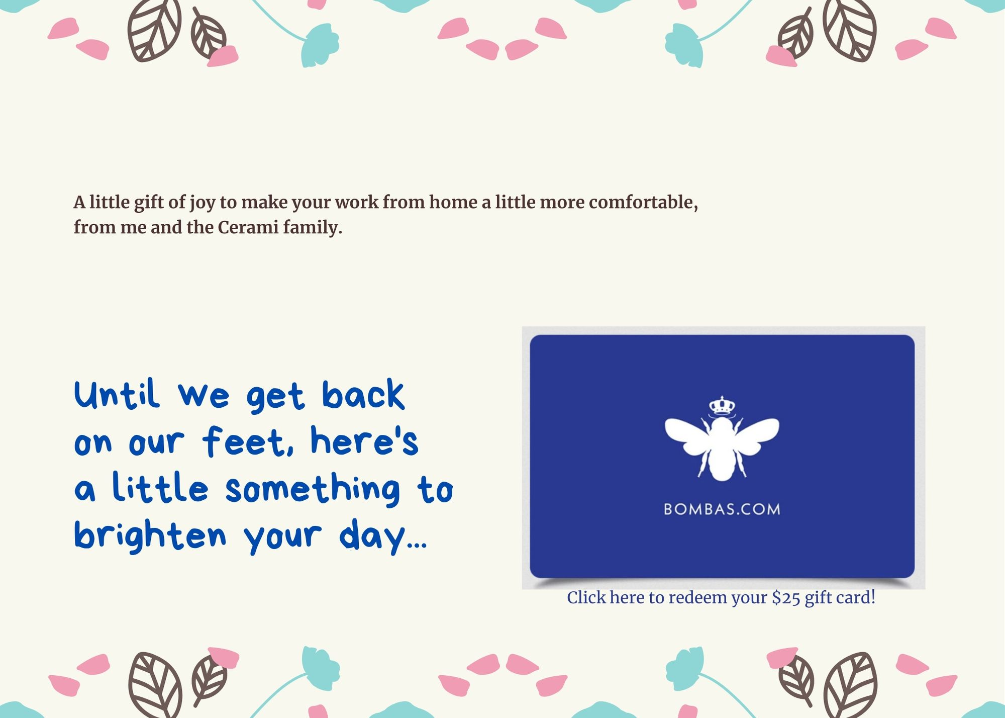 Bombas Gift Card Template
